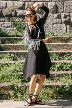 NEON RABBIT ethical fashion - black midi skirt