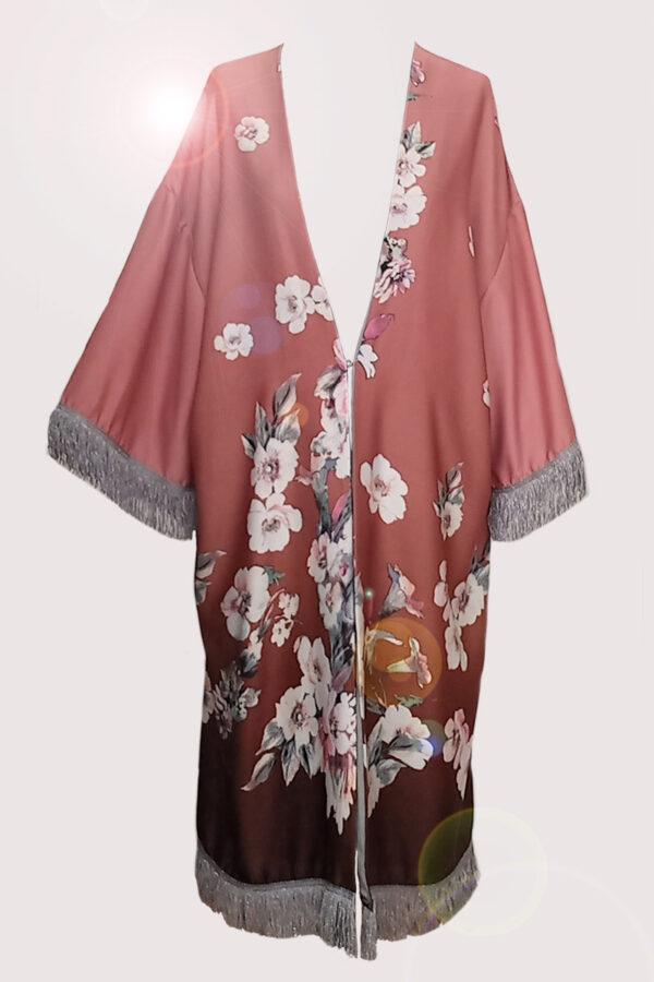 NEON RABBIT ethical fashion brand. Item- silk kimono with fringes.