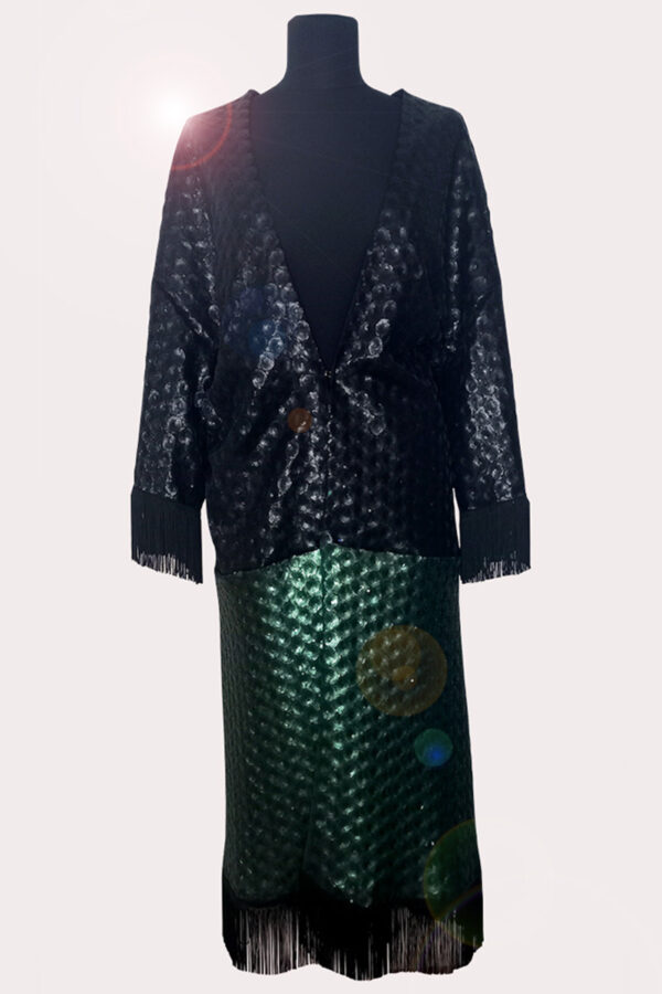 NEON RABBIT ethical brand. Item / black and green Kimono.